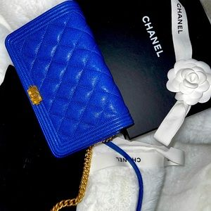 NEW CHANEL Caviar Quilted Boy WOC Brushed GHW Blue Full set